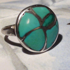 Mosaic Zuni with Turquoise and sterling Ring